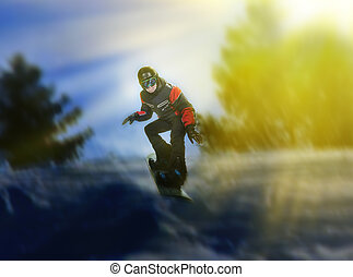 Portrait of snowboarder doing extreme trick - Portrait of...