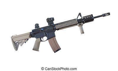 AR-15 - Semi automatic rifle with tan stocks isolated on...