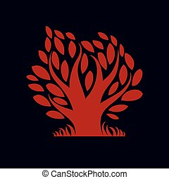 Artistic illustration of autumn creative tree with red...