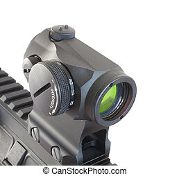 Gun optic - Electronic dot sight mounted on the rail of a...