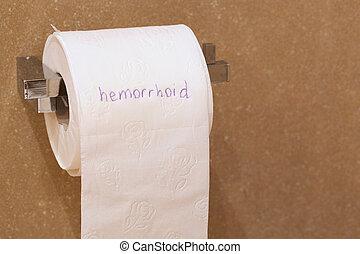 haemorrhoid, écrit, papier, mot