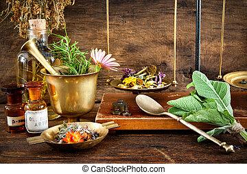 Natural medicine - Ancient natural medicine, herbal, vials...