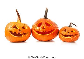 Halloween pumpkin head jack lantern isolated on white...