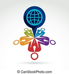 Society and organizations taking care about the world, global peace wealth and ecology theme icon, vector conceptual stylish symbol for your design.