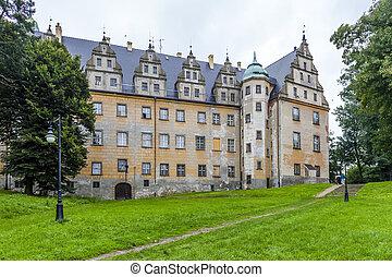 slott, av, Olesnica, sänka, Silesia, Polen,
