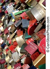 padlocks of loving couples as a sign of loyalty on the...