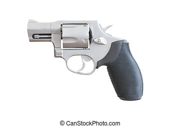 Handgun - Revolver with a snub nosed barrel on a white...