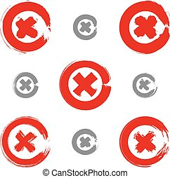 Set of hand-drawn close icons scanned and vectorized,...
