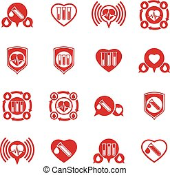 Cardiology and blood transfusion vector icons set, creative...