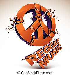 Orange 3d vector peace sign created from refractions...