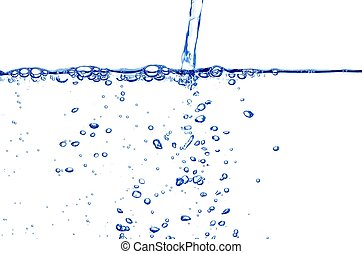 Clear Blue Water Stream - Clear Blue Stream and Bubbles on...