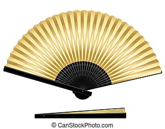 Golden Folding Fan - Golden folding fan - elegant, stylish,...