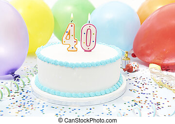 torta, festeggiare, compleanno,  40th