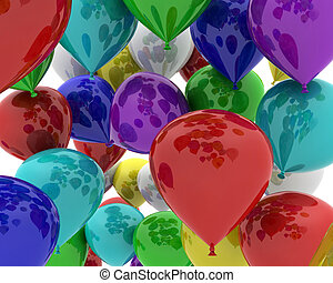 multi coloured balloons - 3D render of a bunch of multi...