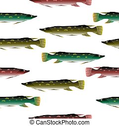 Pike seamless pattern.
