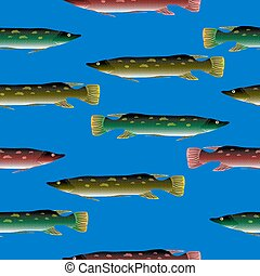 Pike seamless pattern - Pike seamless pattern on blue...