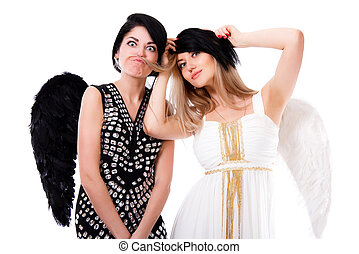 Black and white beautiful young angels playing tricks...