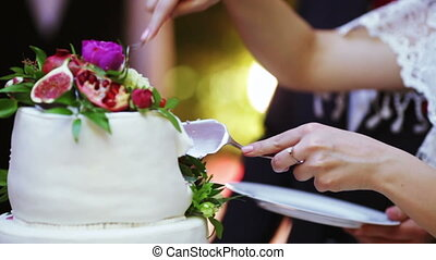 Cutting wedding cake - Couple newlyweds cut wedding cake