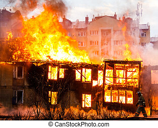 Fire in a house - Fire in an old wooden house