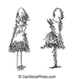 Fashion models sketch. Cartoon hand drawn girls