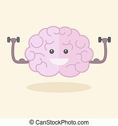 Brain training flat style vector illustration. Colorful...