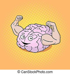 Brain training pop art style vector illustration Colorful...