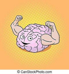 Brain training pop art style vector illustration. Colorful...