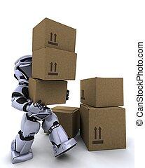 robot, spostamento, spedizione marittima, scatole