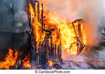 Burning house - Burning old wooden house