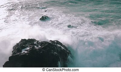 Slow Motion Ocean Waves Breaking on Rocks, storm weather