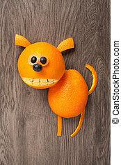 perro, hecho, de, naranja, en, de madera, backgr,