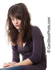 jovem, adolescente, mulher, depressão