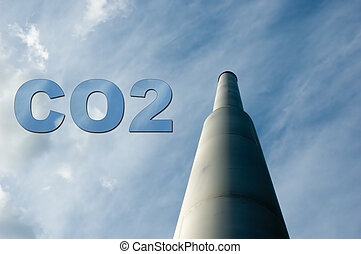 Smokestack with CO2 - A smokestack with the letters CO2 made...