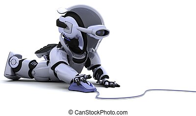 robot with a computer mouse - 3D render of robot with a...