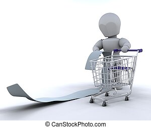 man with shopping list and cart - 3d render of a man with...