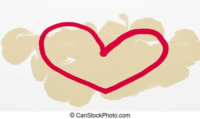 Hand drawn red heart on beige artistic background....
