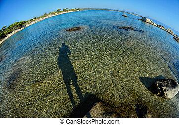 Fisheye seascape 5 - Seascape fisheye view with a huge...