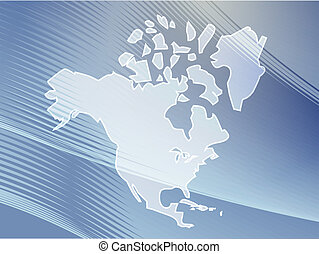 Map North America - Map of the North American continent, USA...