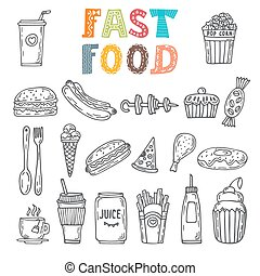 Hand drawn set of fast food. Collection of various sketches food and doodles elements