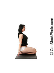 Corpulent woman training yoga