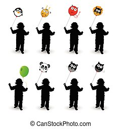 child play with balloon vector illustration in colorful