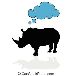 rhino vector with speech bubble silhouette
