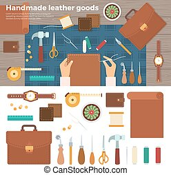 Tools for Handmade with Leather. Hobby Concept - Workplace...
