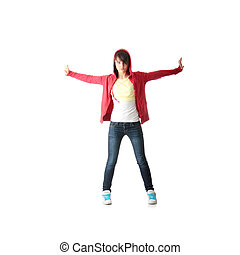 Young pop dancer, isolated on white background