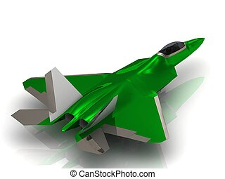 Green Aairplane Army jet Military with bomb during airshow...