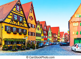 Dinkelsbuhl, Germany - Scenic view of ancient medieval urban...