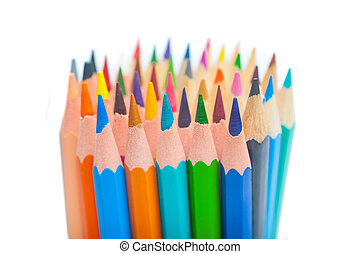 Close up of color pencils with different color, isolated on...