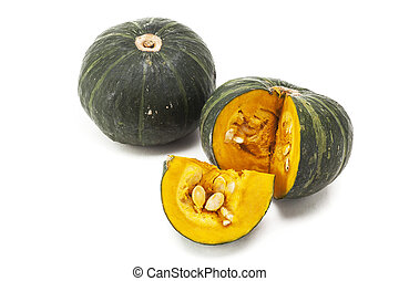 Japanese pumpkin group on background