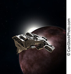 Spaceship Breaking Orbit - Science fiction illustration of...