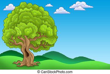 Landscape with big leafy tree - color illustration.